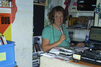 Marcelle recording a radio show in her Amsterdam home, Netherland, August 2010